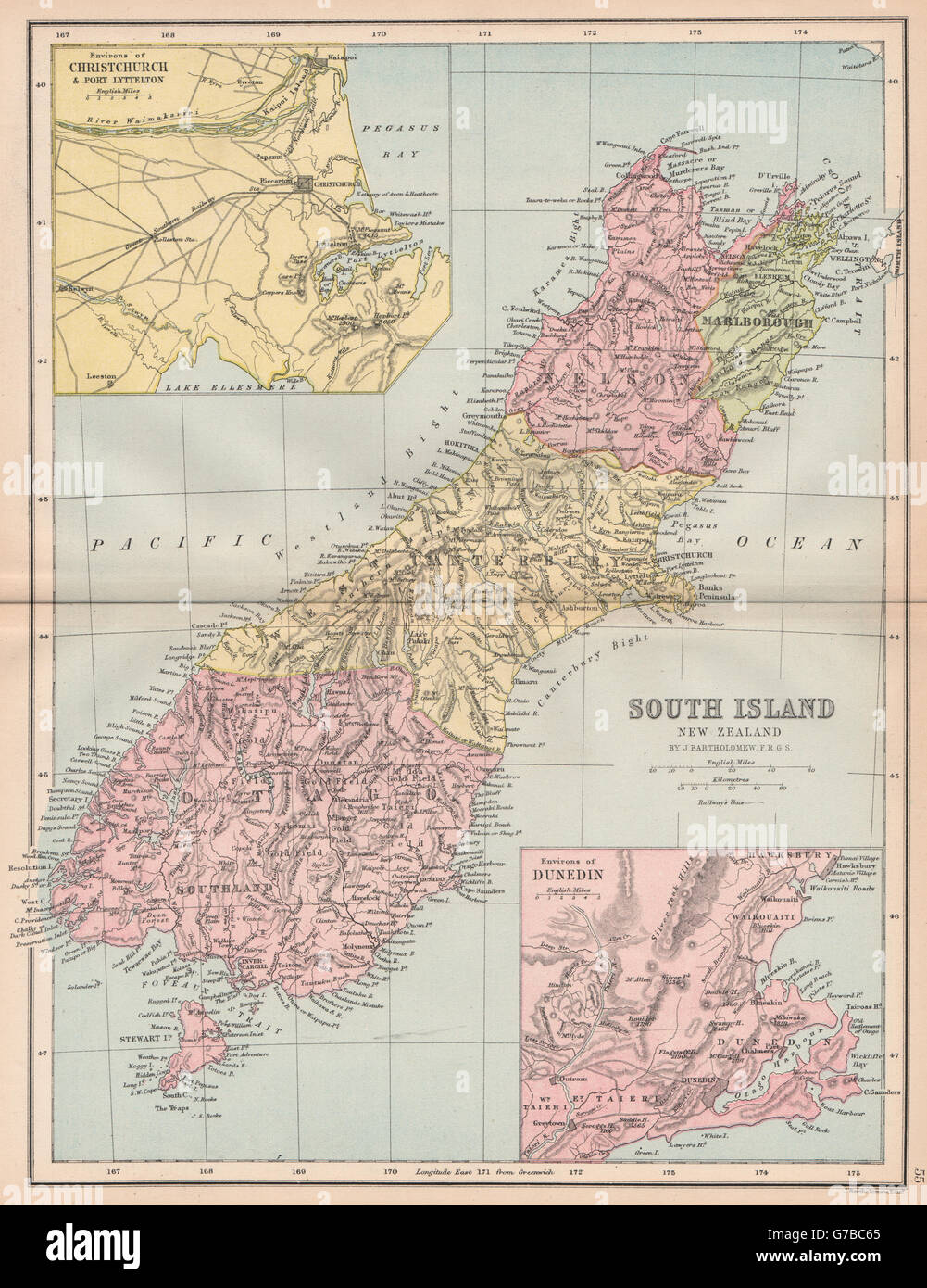 Show Map Of New Zealand.South Island New Zealand Shows 1870 Provinces Dunedin Christchurch