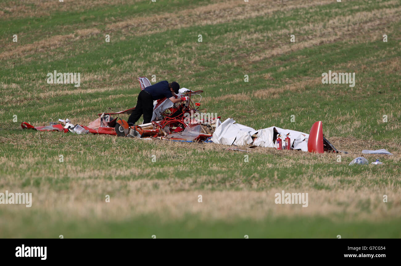 Light aircraft crash after mid-air collision - Stock Image