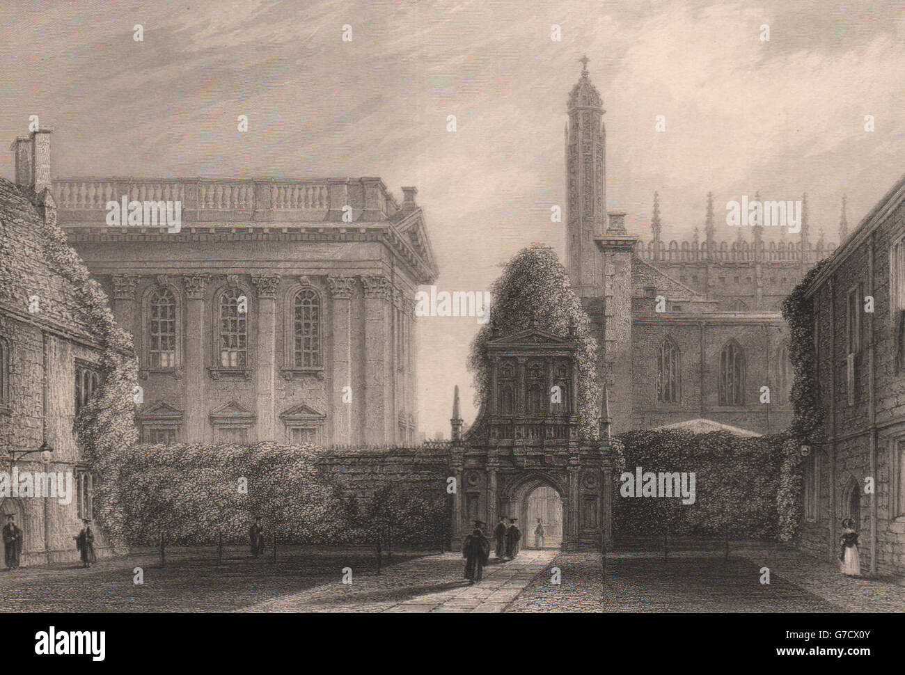 Cambridge The Library of KING/'S COLLEGE LE KEUX 1841 old antique print