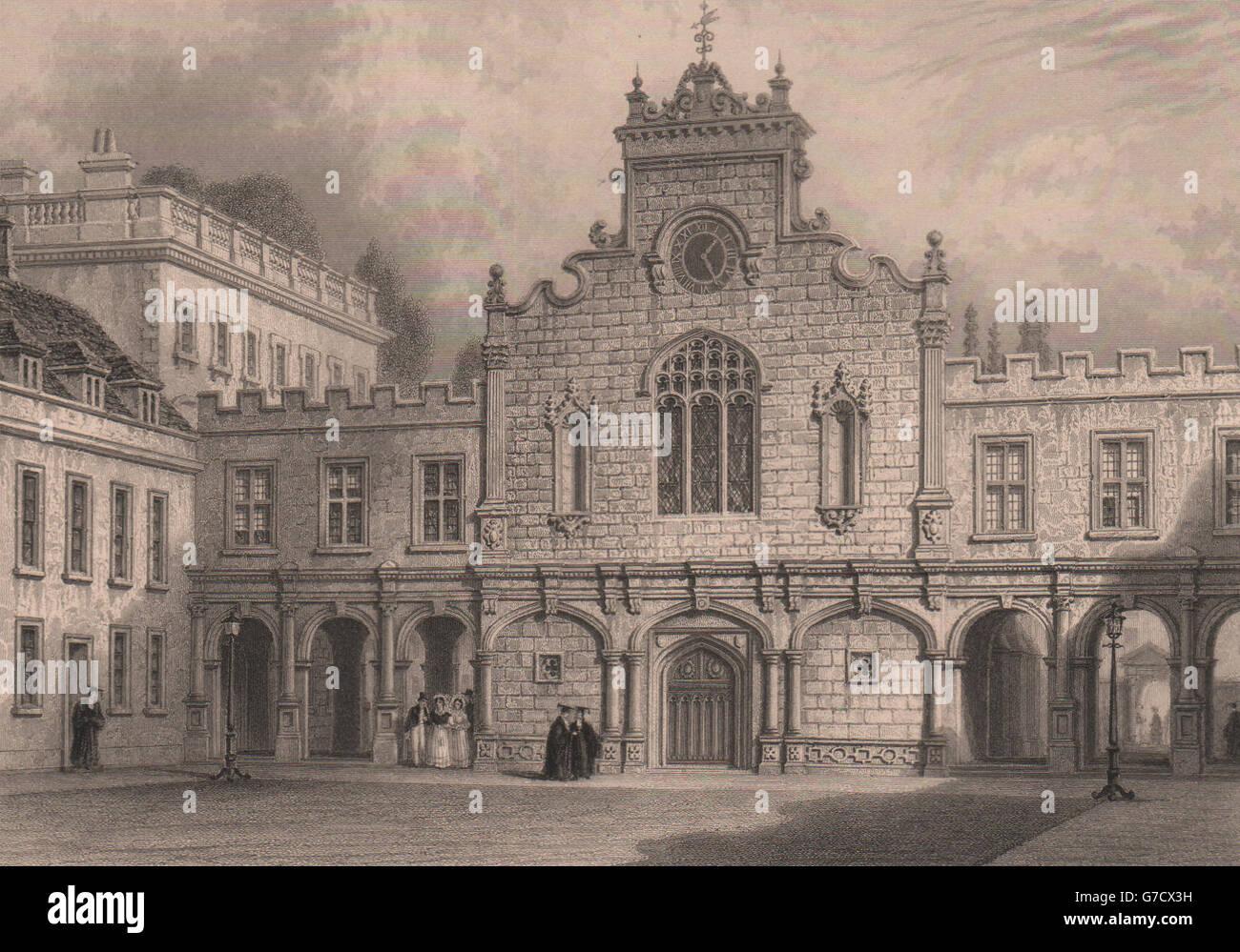 PETERHOUSE, Cambridge. Showing the Chapel. St Peter's College. LE KEUX, 1841 - Stock Image