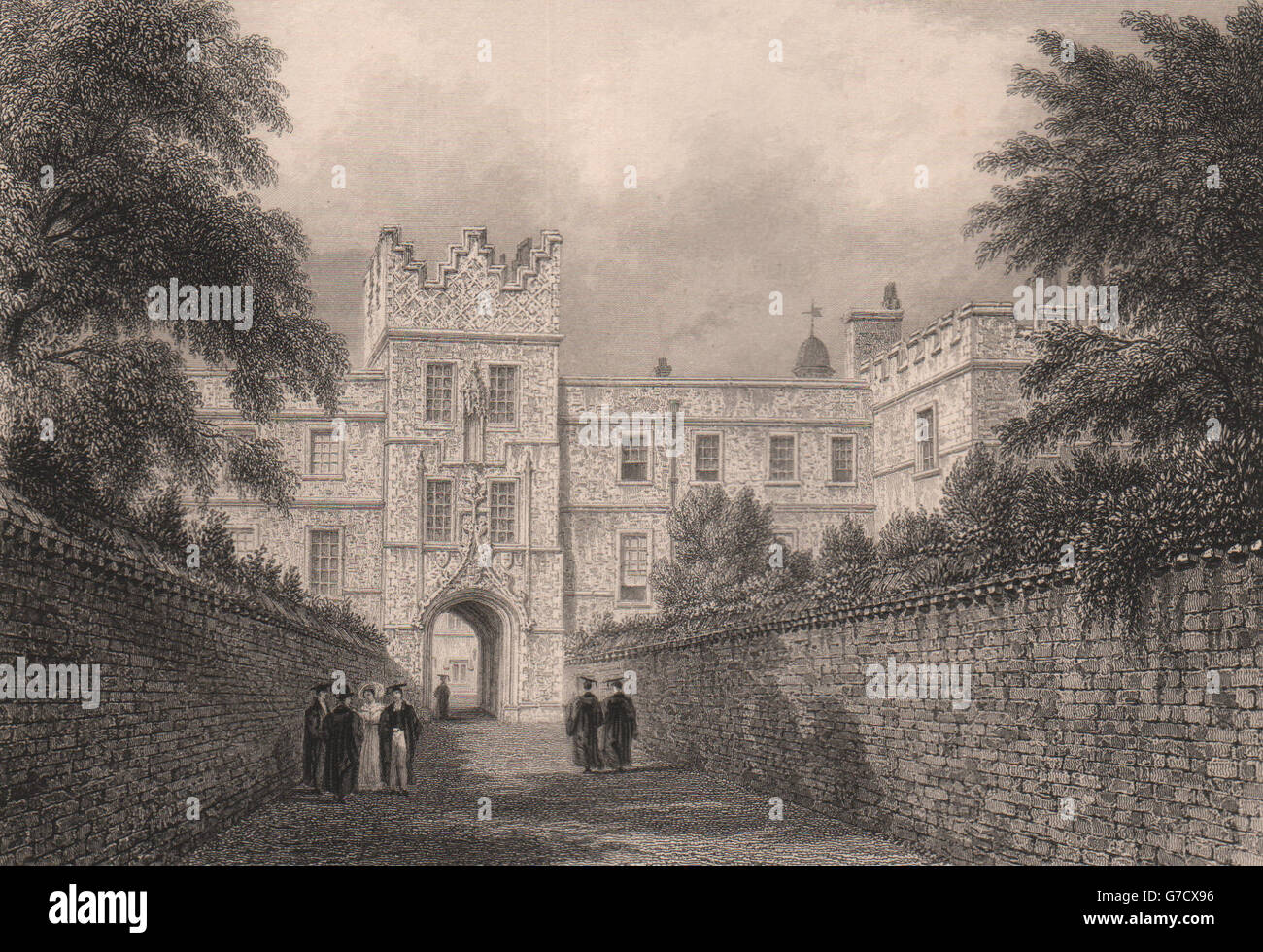 JESUS COLLEGE. The entrance Gateway, Cambridge. LE KEUX, antique print 1841 - Stock Image