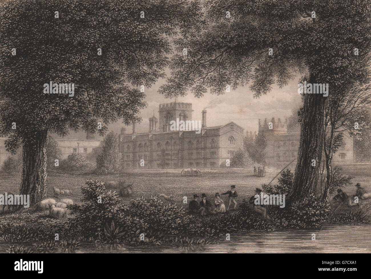 JESUS COLLEGE. from the Meadows, Cambridge. LE KEUX, antique print 1841 - Stock Image