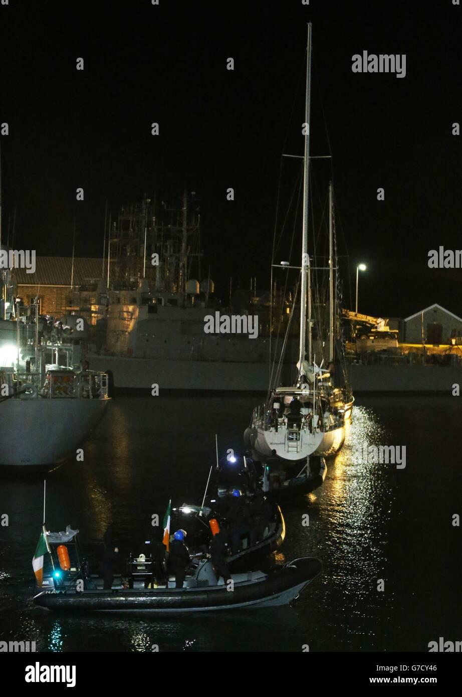 Drugs yacht seized - Stock Image