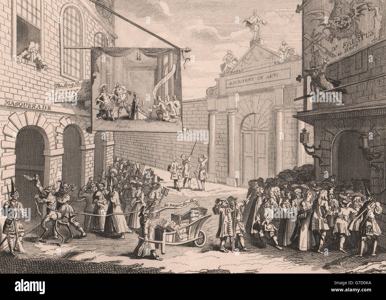 'Masquerades and Operas, Burlington gate'. After William HOGARTH, print 1833 - Stock Image