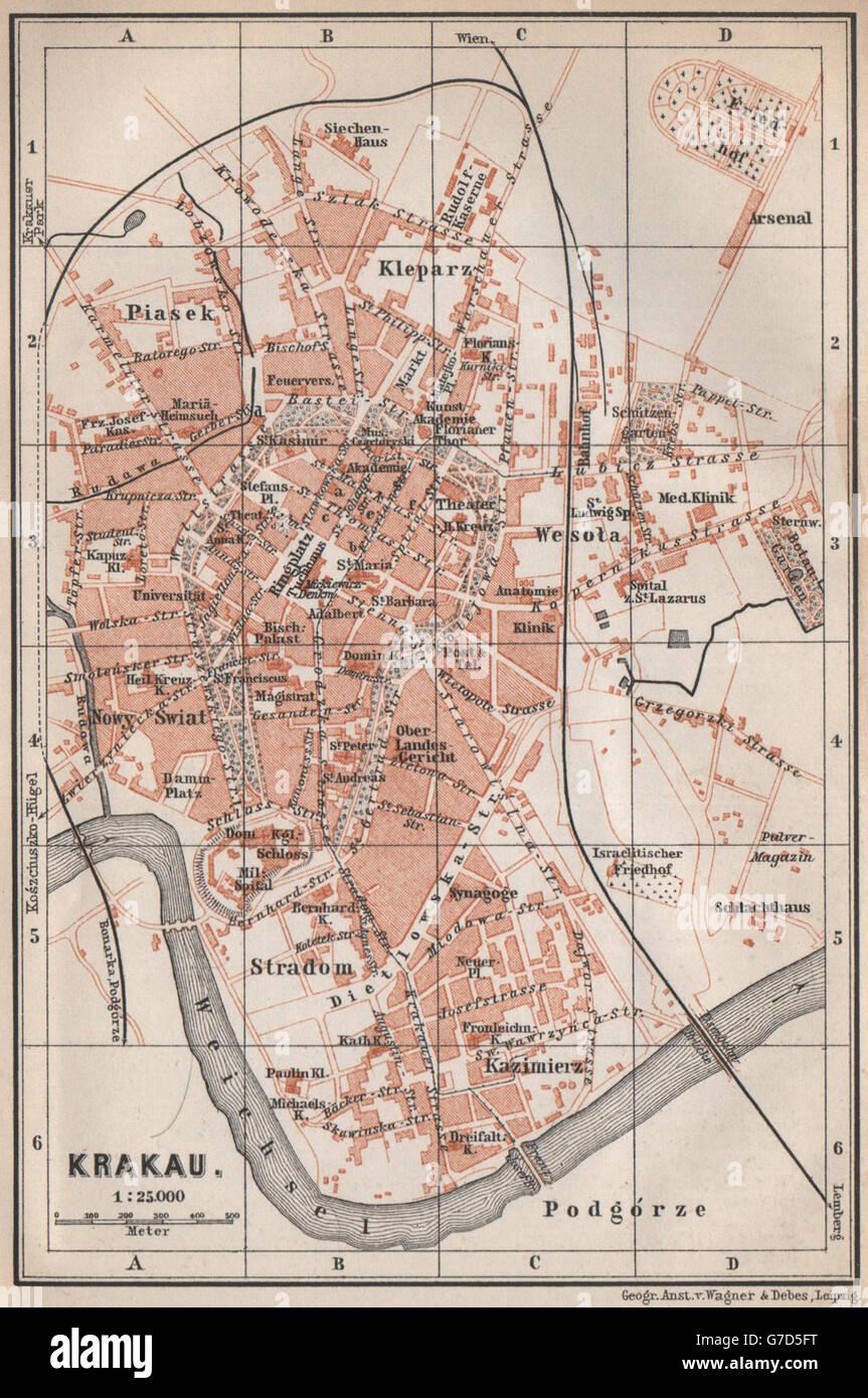 Krakow Cracow Antique Town City Plan Miasta Krakow Poland Mapa