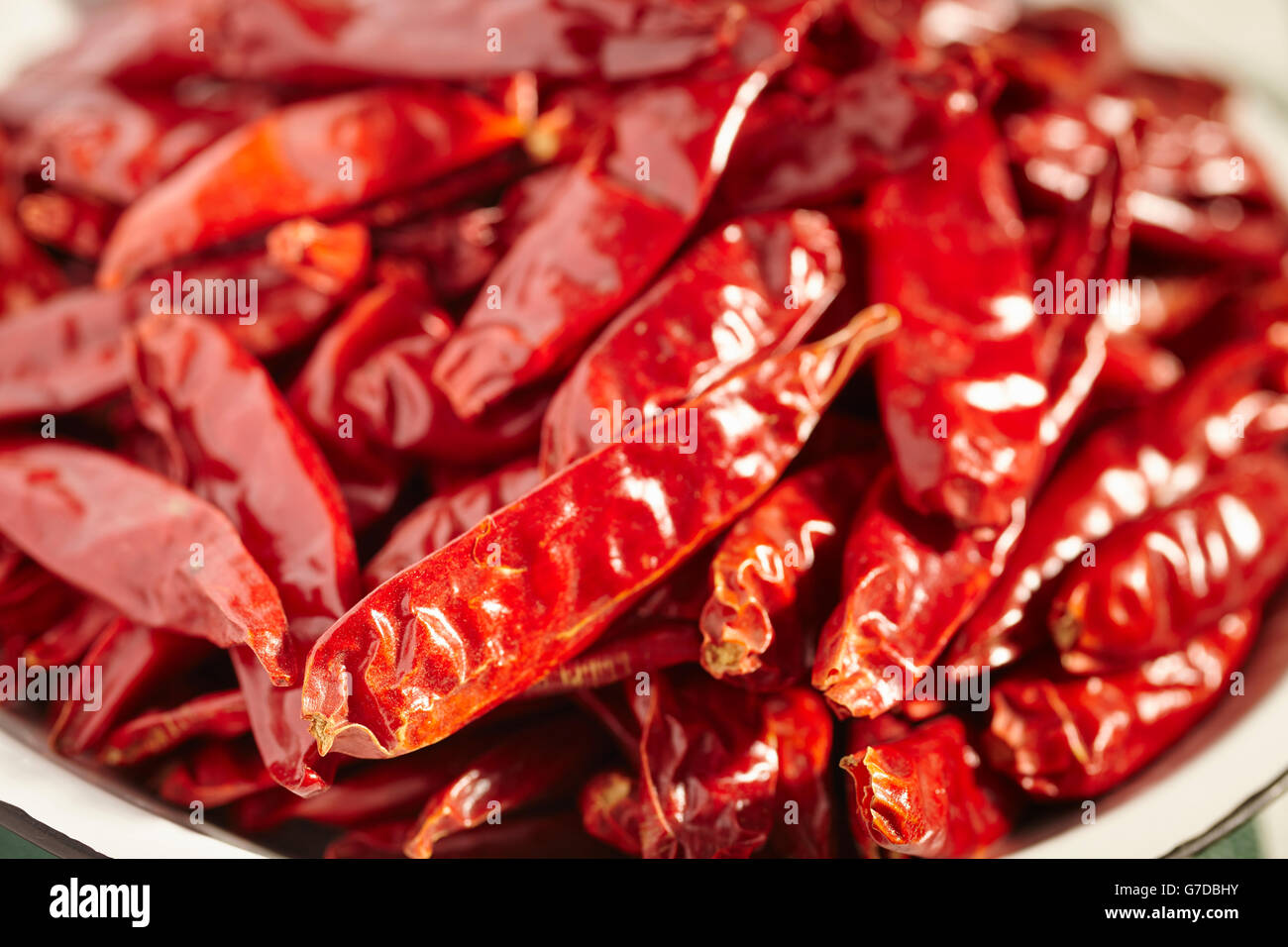 Dried Chinese Chili Peppers - Stock Image