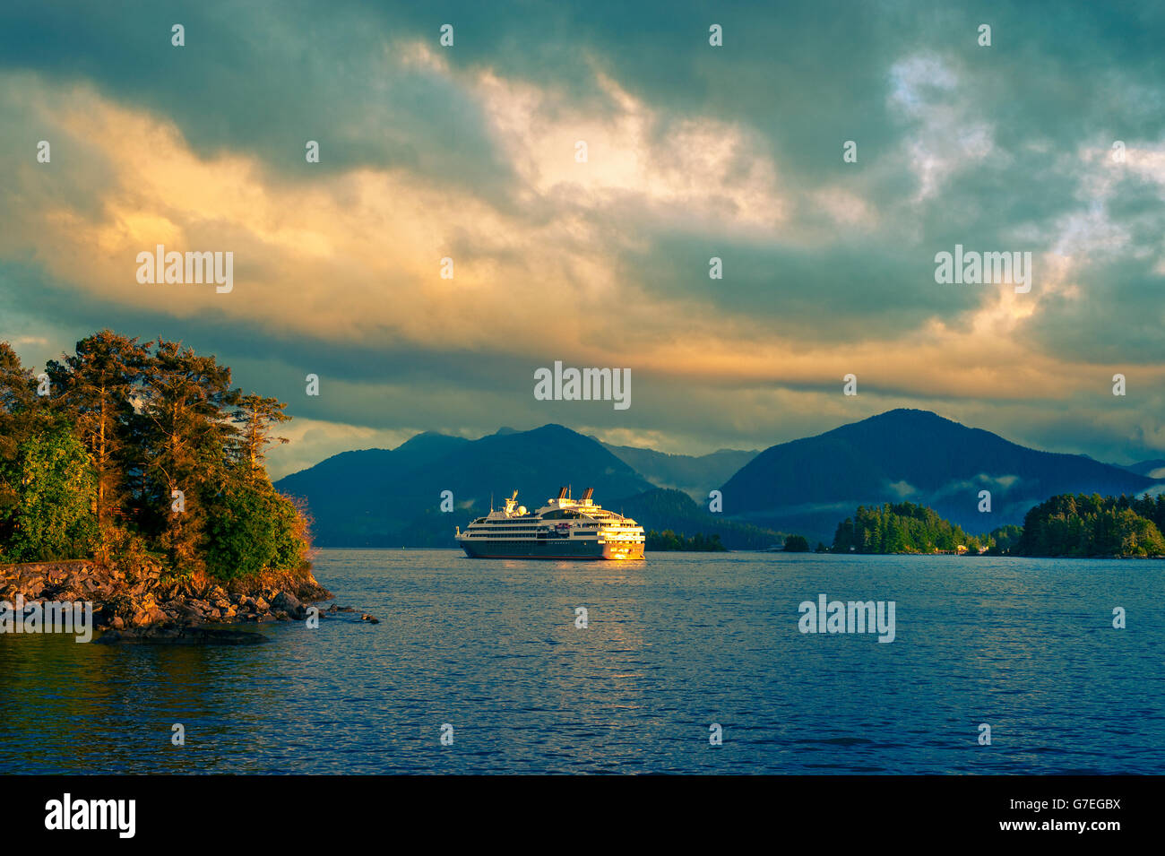 The cruise ship, Le Boreal anchored in Eastern Channel, Sitka, Alaska, USA - Stock Image
