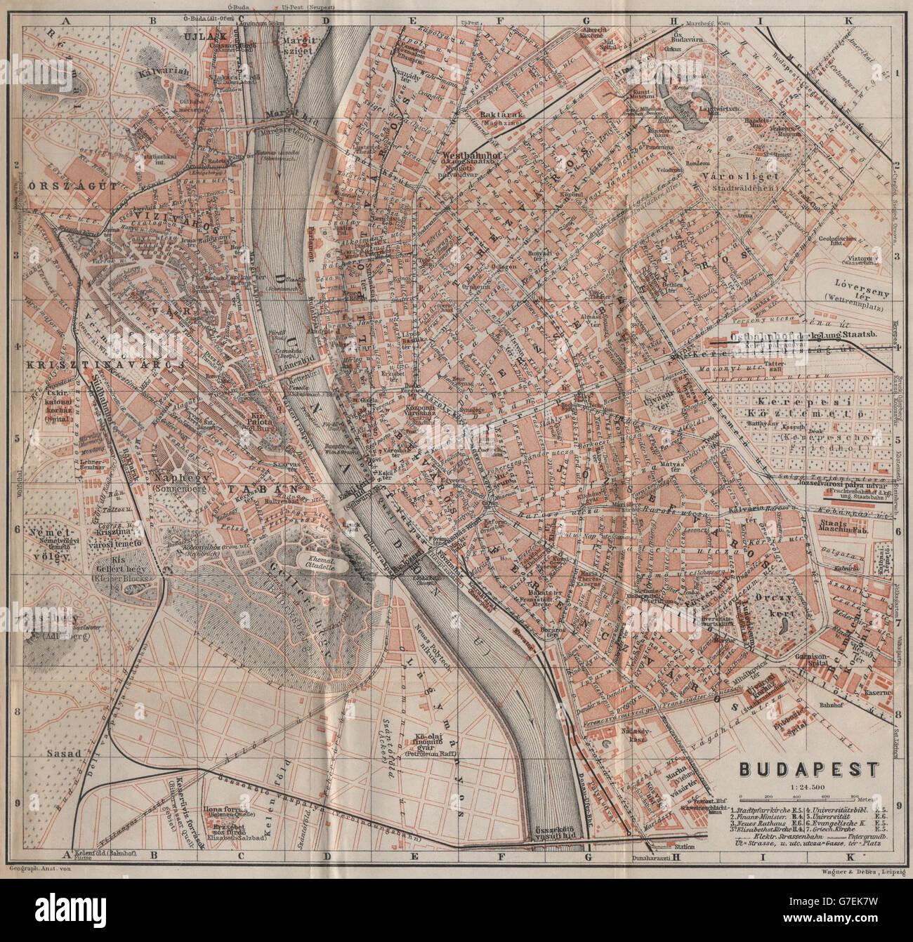 Budapest Antique Town City Plan Hungary Magyarorszag Terkep