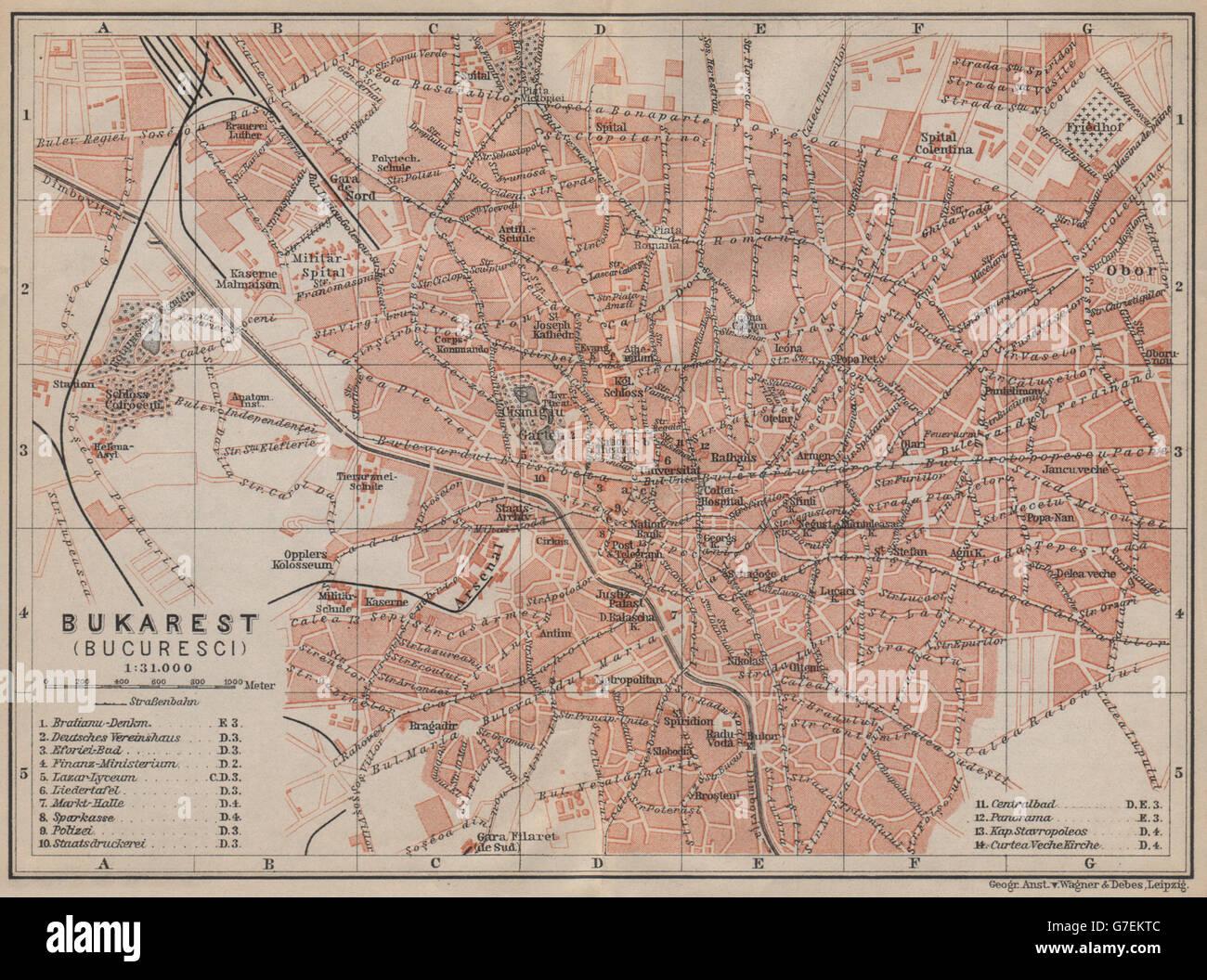 Bucharest Bucuresti Antique Town City Planul Orasului Romania