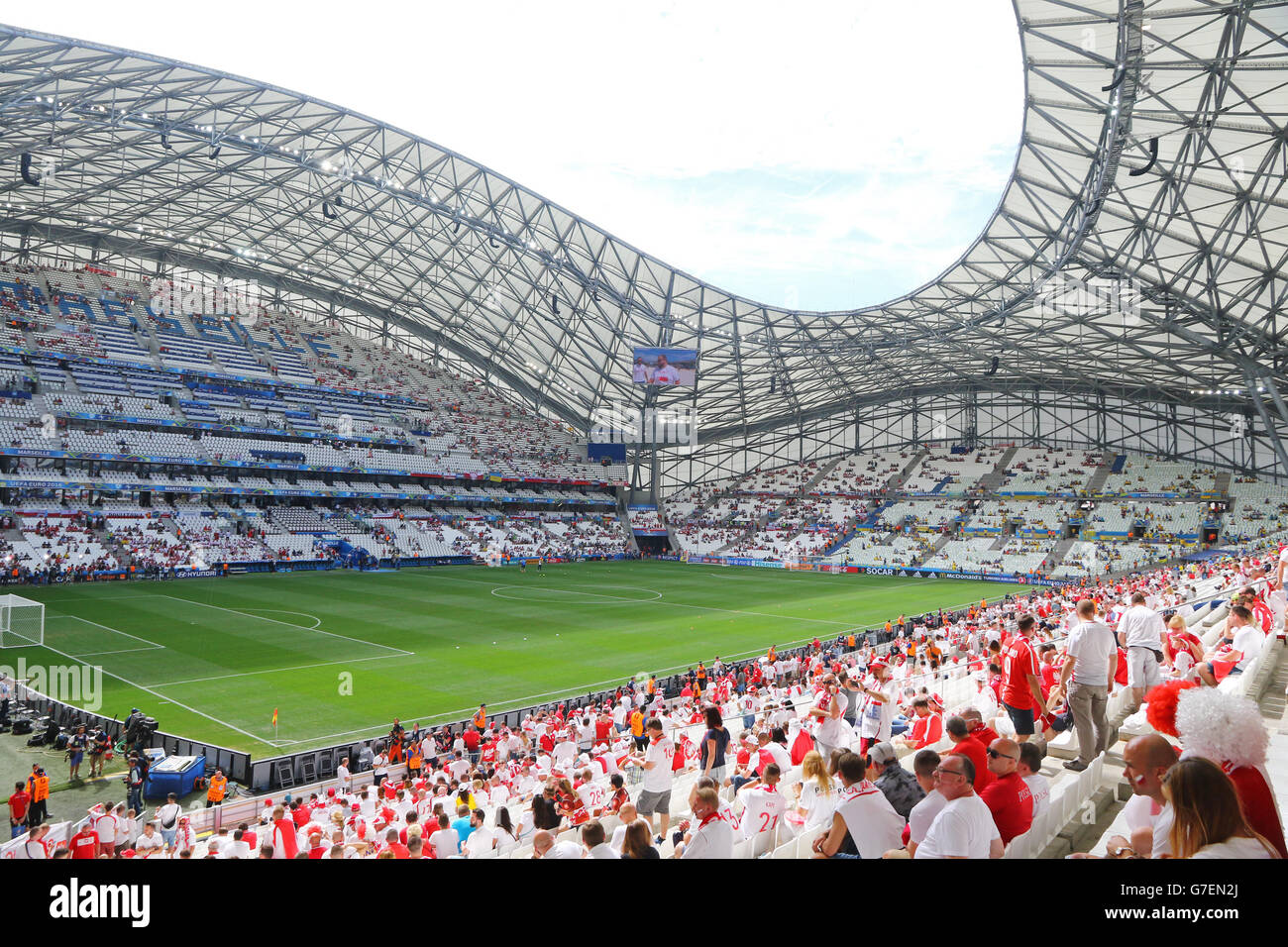 MARSEILLE, FRANCE - JUNE 21, 2016: Tribunes of Stade Velodrome before the UEFA EURO 2016 game Ukraine v Poland - Stock Image