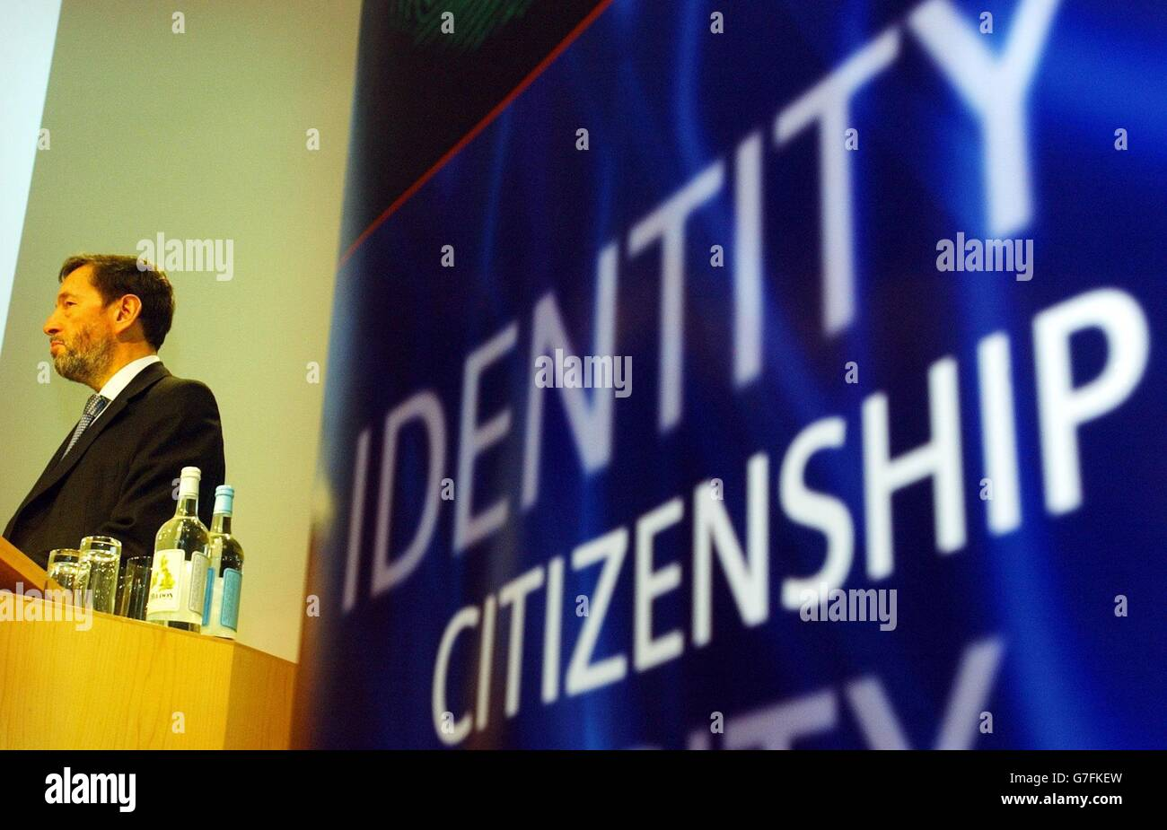 David Blunkett ID cards conference - Stock Image