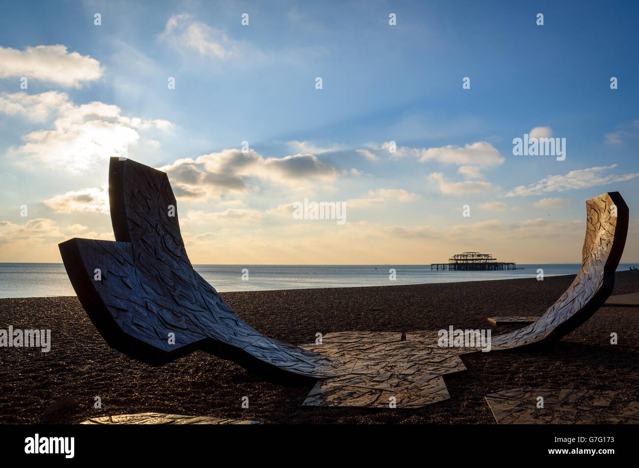 Abstract sculpture by Charles Hadcock on Brighton beach in England, UK. West Pier in the background. November 2010. Stock Photo