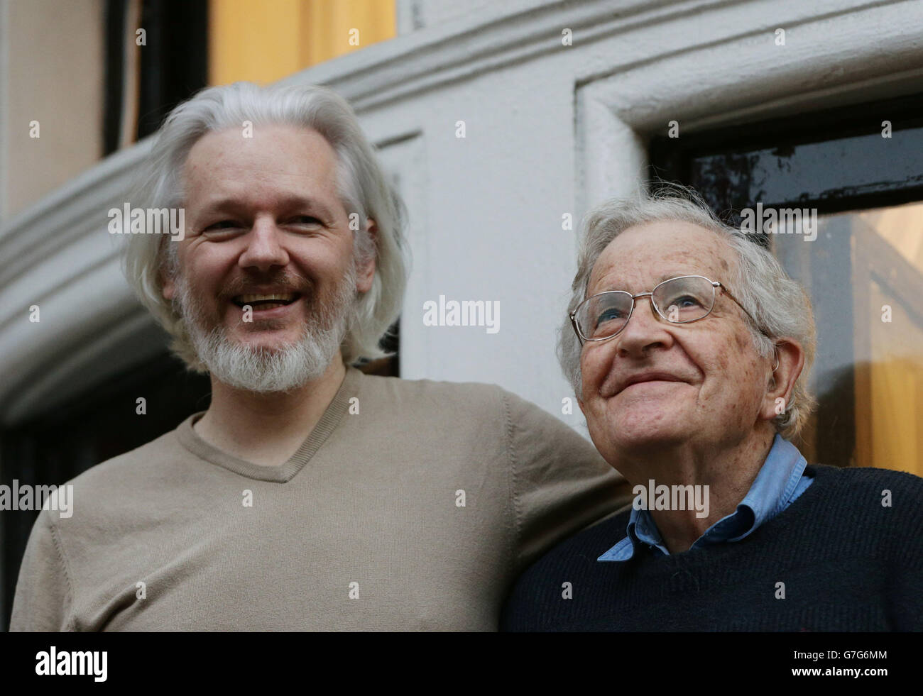 Julian Assange meets Noam Chomsky - Stock Image