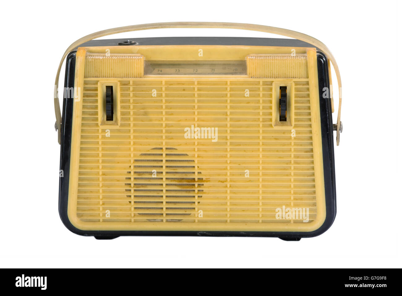 Old portable radio on a white background isolated Stock Photo