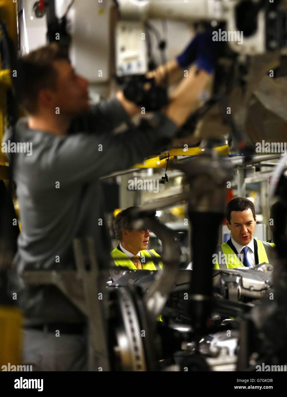 Osborne visits Bentley Motors in Crewe - Stock Image