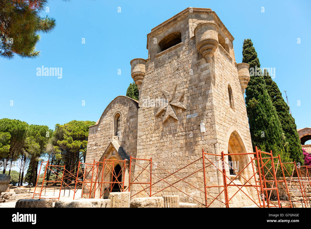The Monastery of Filerimos was built in the 15th century by the Knights of Saint John on the island of Rhodes. - Stock Image