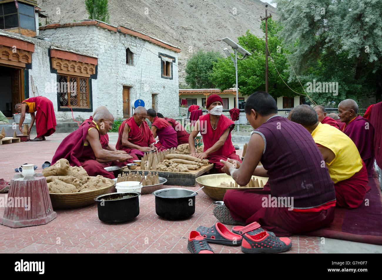 Monks preparing for a festival, Samstanling Gompa, Sumur, Nubra Valley, near Leh, Ladakh, Jammu and Kashmir, India Stock Photo