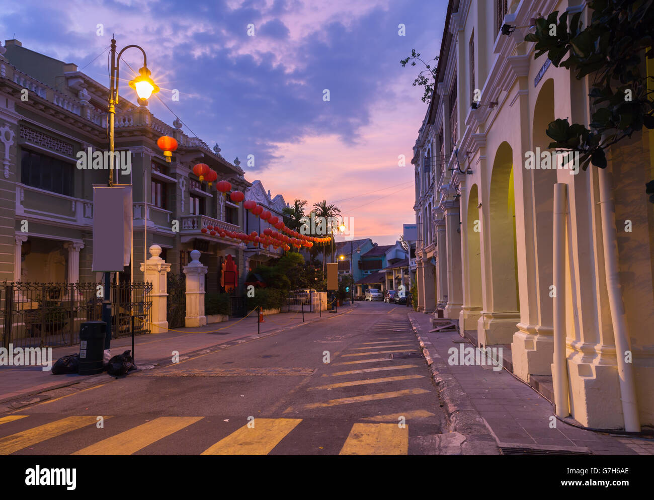 Dusk view of on Armenian Street and Yap Kongsi clan house, George Town, Penang, Malaysia. - Stock Image