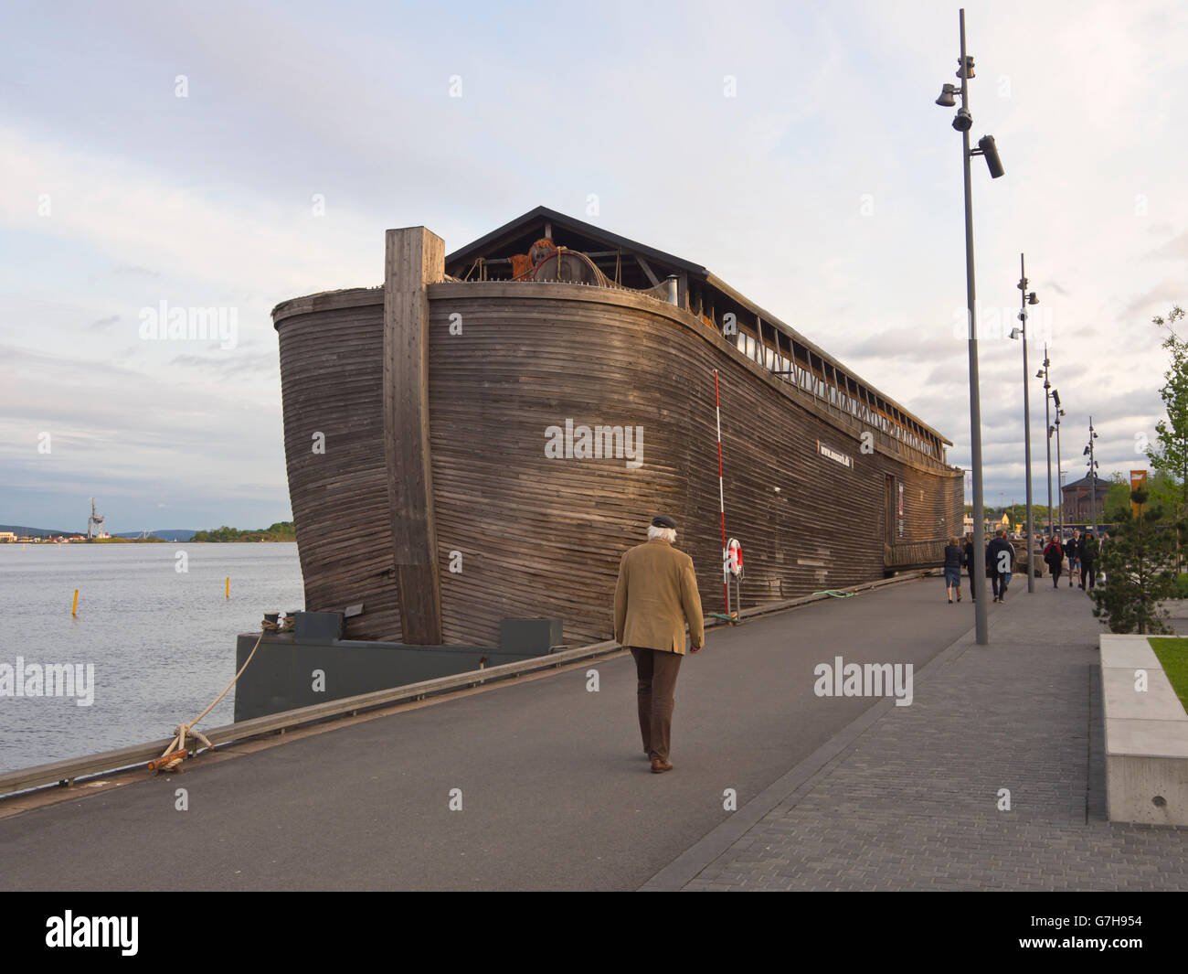 A rebuild of noah's ark in the harbour of Oslo Norway, traveling Europe as a Bible museum - Stock Image