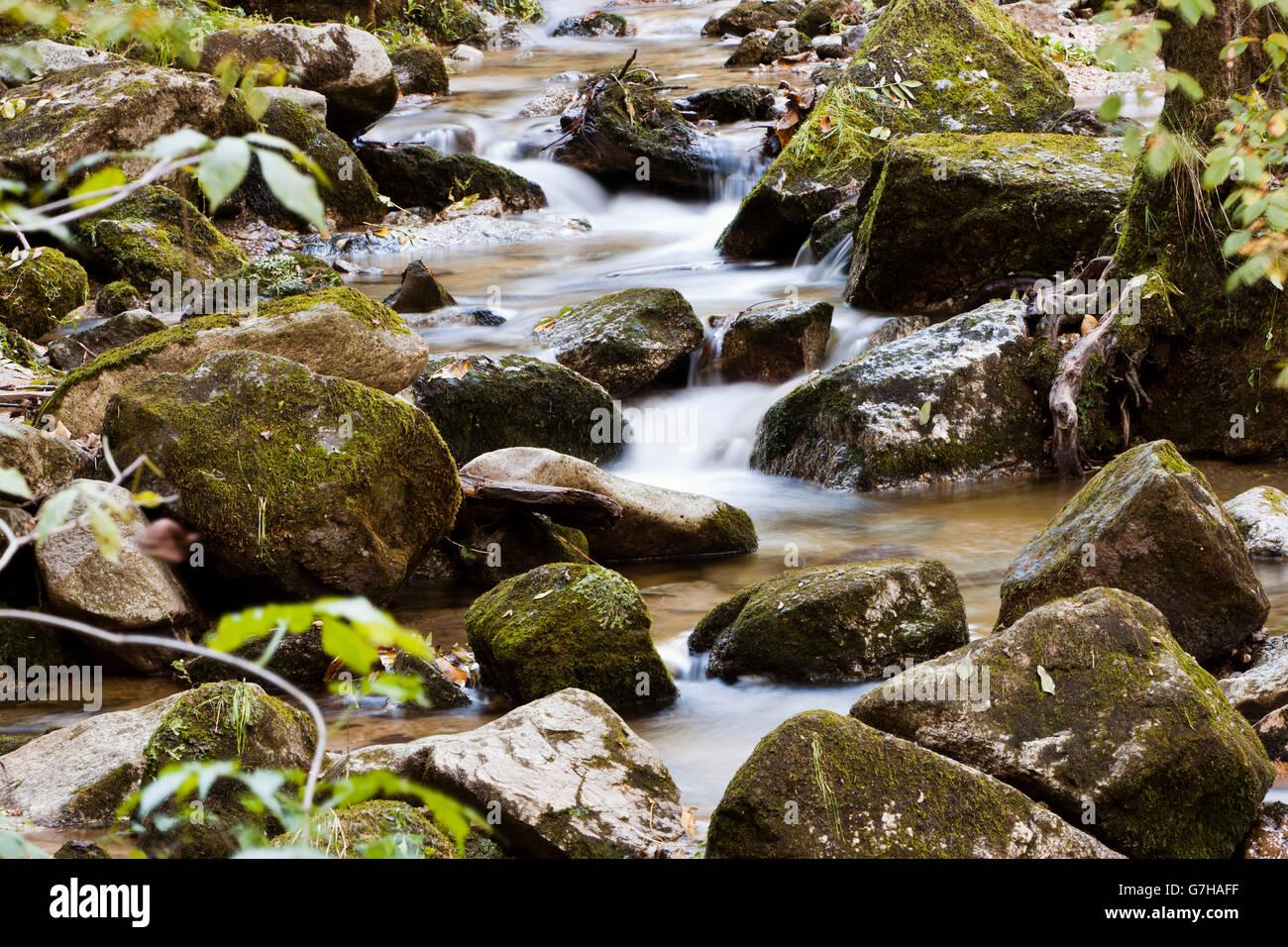 Creek with running water, Stillensteinklamm, Grein, Upper Austria, Austria, Europe - Stock Image