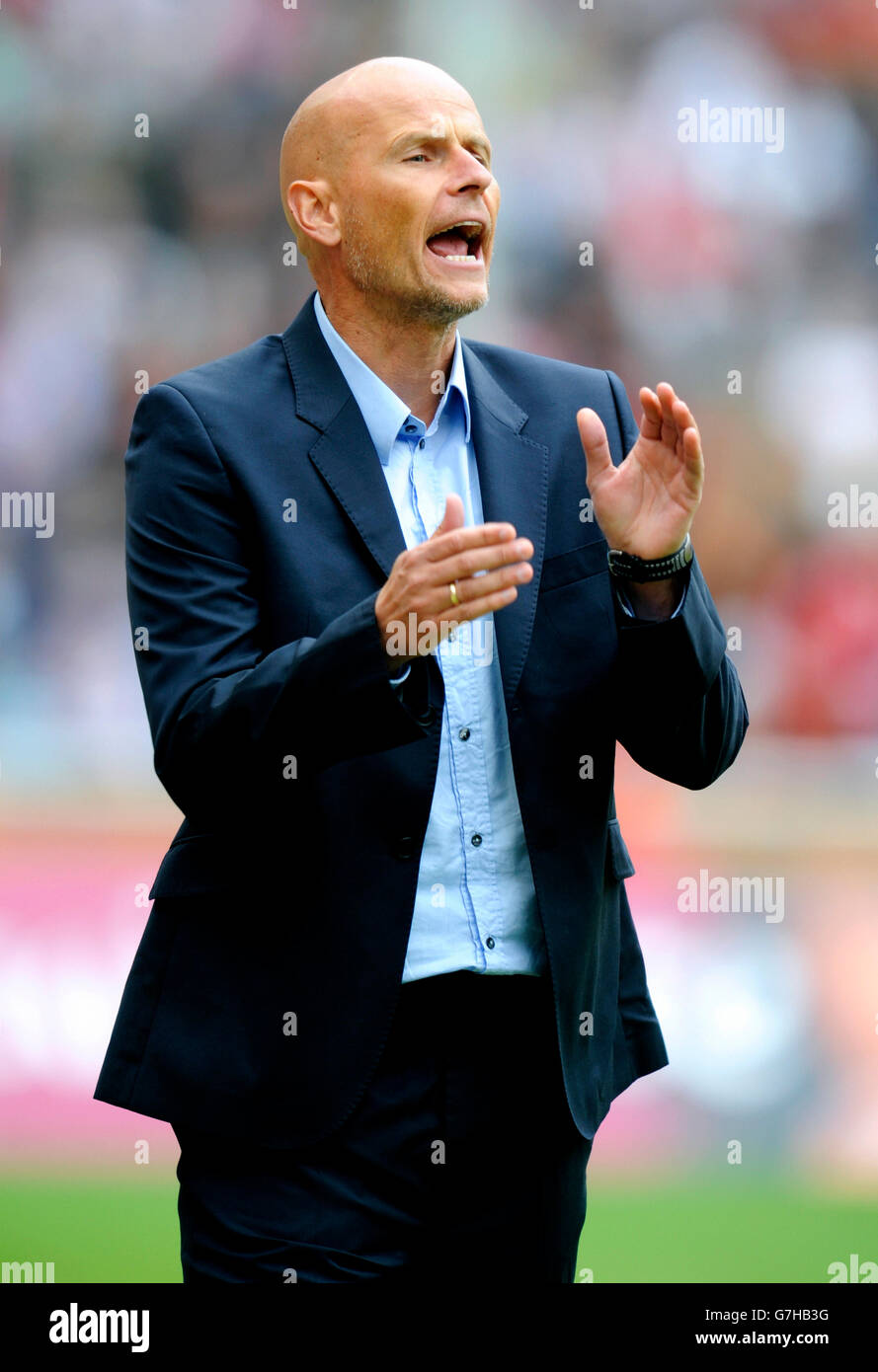 Stale Solbakken, manager of FC Cologne during football test match between FC Cologne 1-2 Arsenal, Rhein-Energie - Stock Image