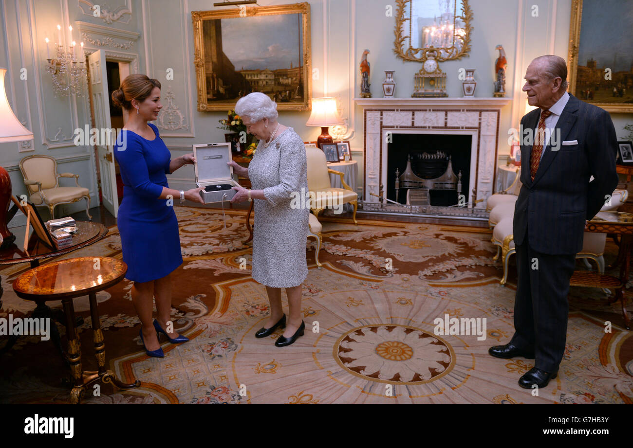 Queen receives Federation Equestre Internationale award - Stock Image