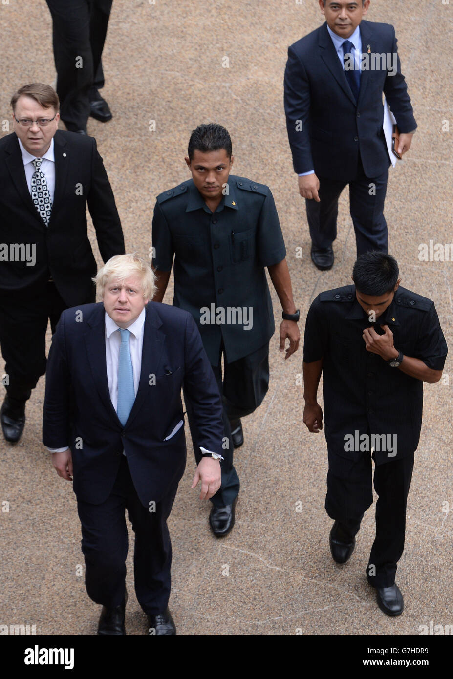 Mayor of London Boris Johnson (bottom left) arrives for a meeting with Malaysian Prime Minister, the Honourable Stock Photo