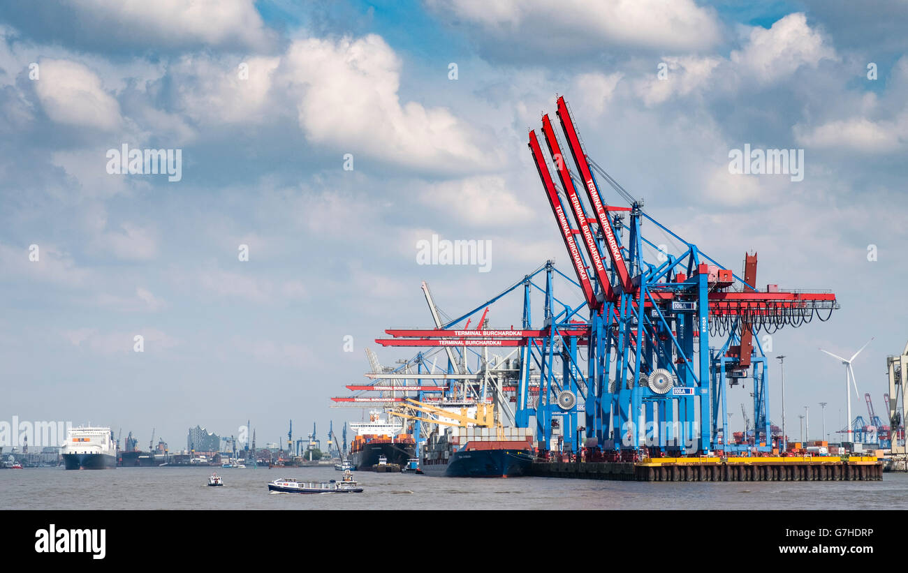 View of container terminal at Burchardkai Port of Hamburg on River Elbe in Germany - Stock Image