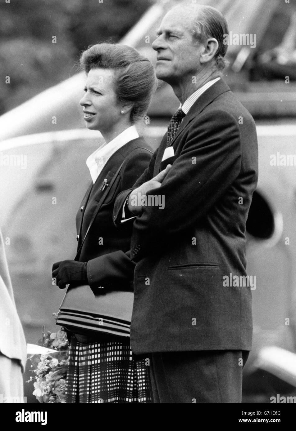 Royalty -- Duke of Edinburgh and Princess Anne - Cambridge - Stock Image