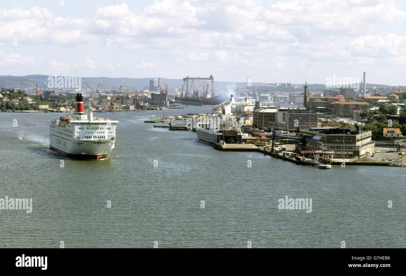 Stena Line Ferry leaving port for the trip to Denmark - Stock Image