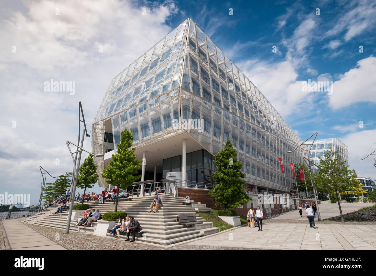 Modern headquarters of Unilever in Hafencity Hamburg Germany - Stock Image