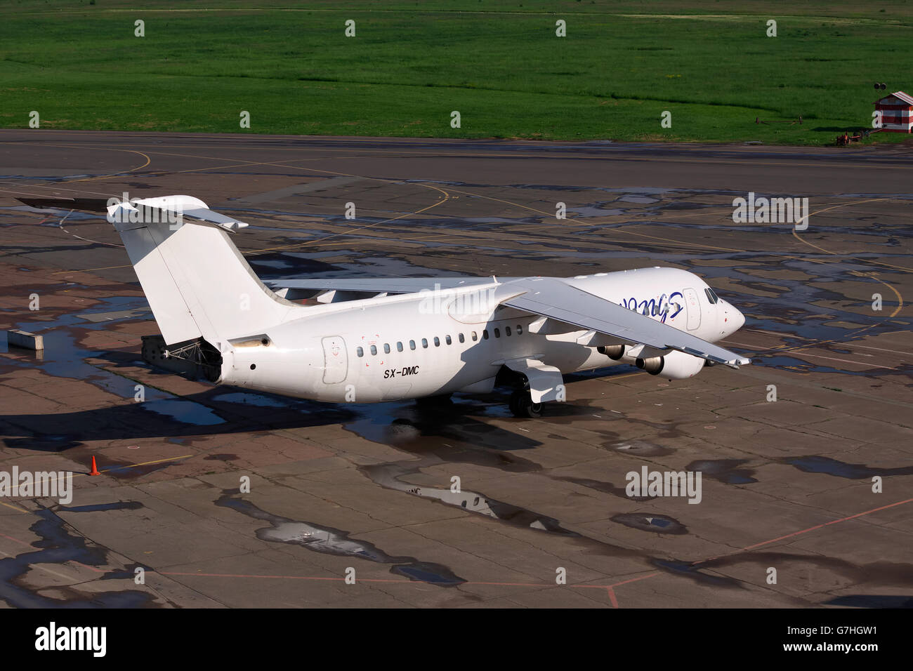 Kiev, Ukraine - May 17, 2012: Sky Wings Avro 146-RJ100 parked on the apron of the airport - Stock Image