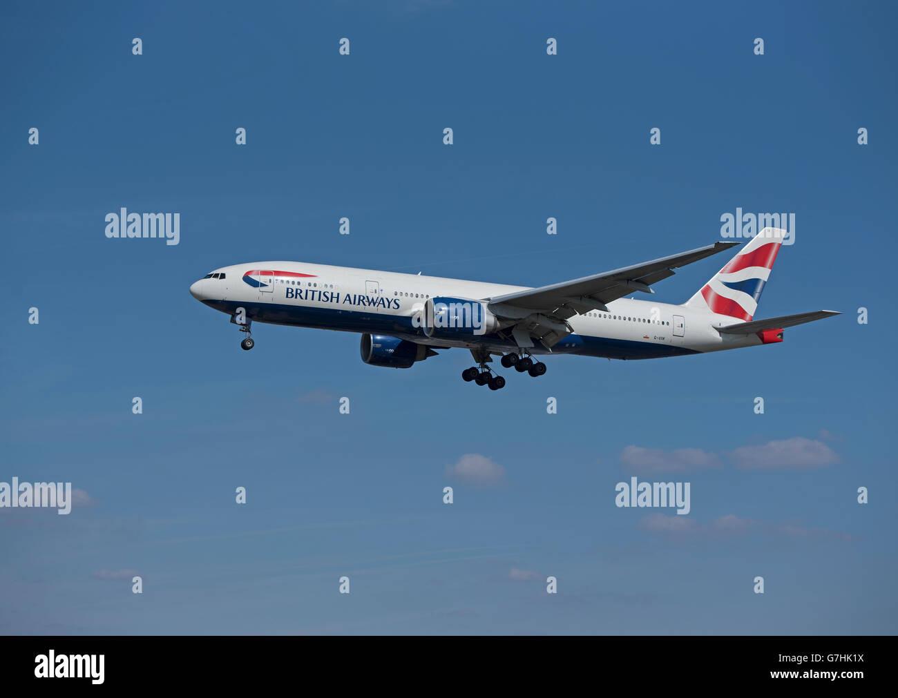Boeing 777-236 of British Airways Fleet Serial Reg' G-VIIK arriving at London Heathrow Airport.  SCO 10,398. - Stock Image