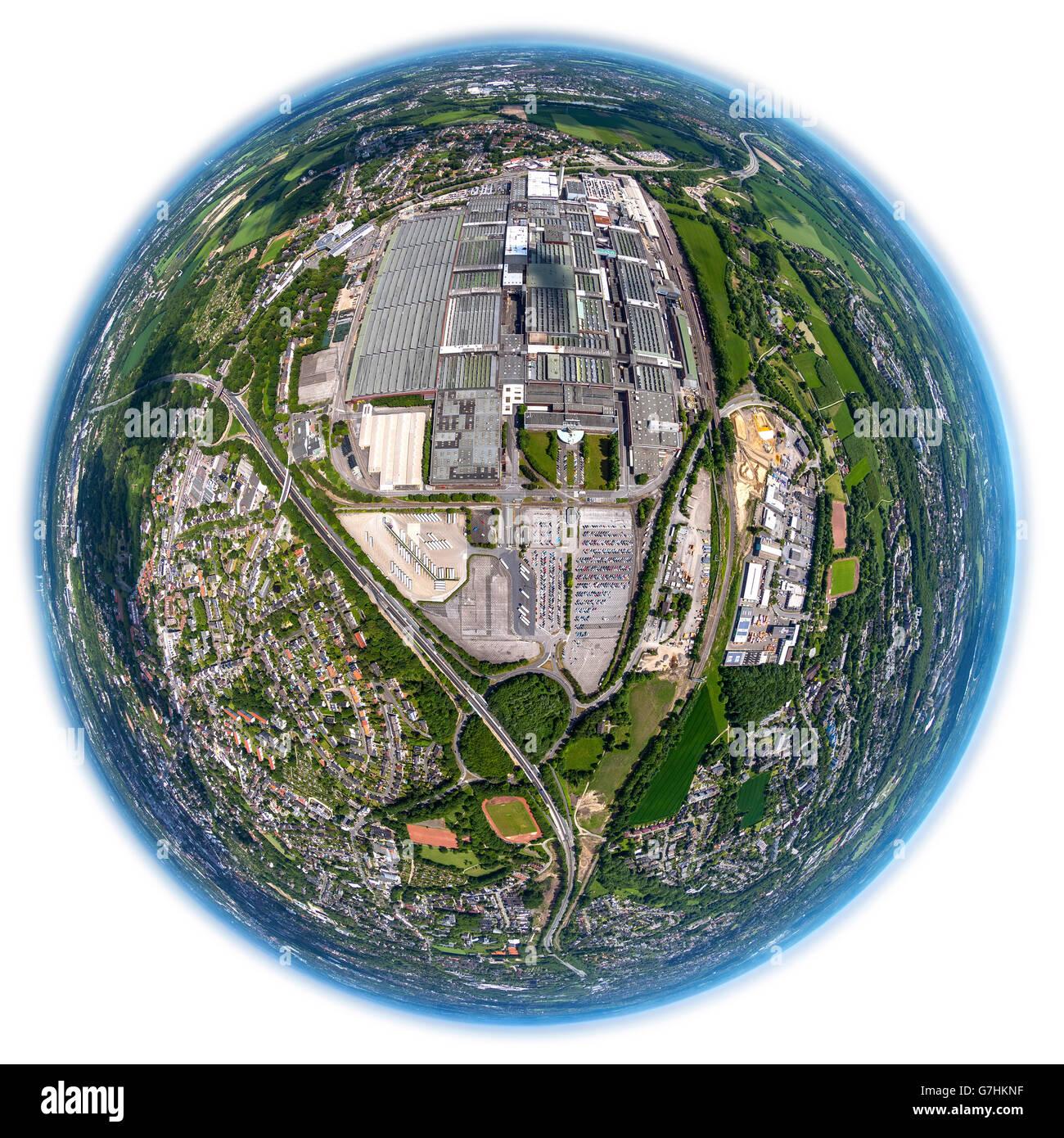 Aerial view, fisheye optics, fisheye lens, OPEL I plant, automobile farmer, decommissioning, work object, plant - Stock Image