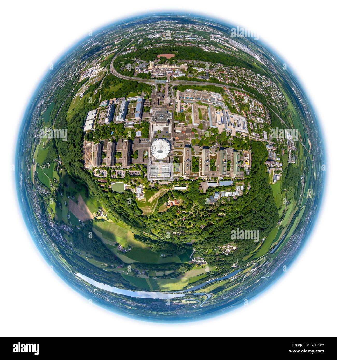 Aerial view, fisheye optics, fisheye lens, Universität Bochum, RUB, Campus Bochum, Kemnader reservoir, south - Stock Image