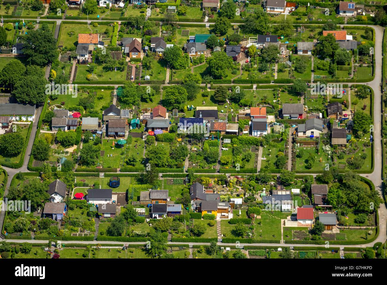 Aerial view, Kleingartenanlage Lütge Heide Bochum-Werne, allotments, allotment association, Bochum, Ruhr area, - Stock Image