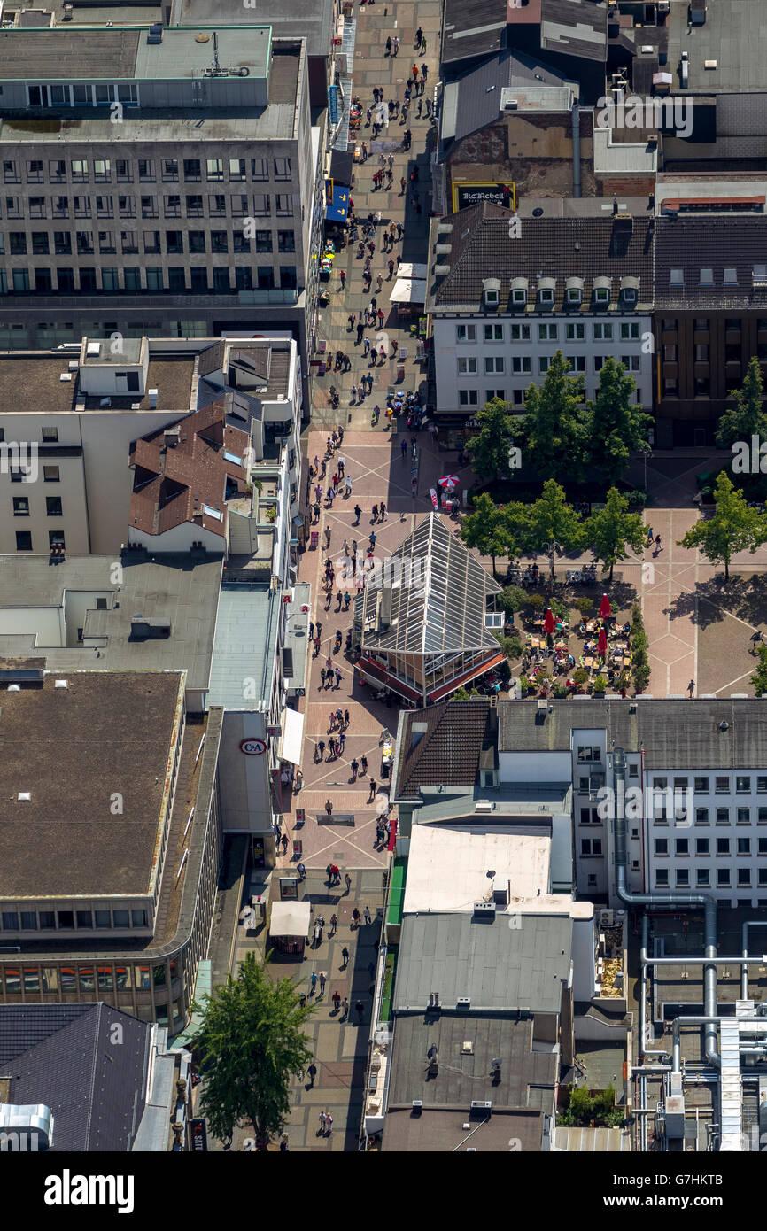 Luftbild, Kortumstraße, shoppingstreet, Bochum, Ruhr, Nordrhein-Westfalen, Deutschland, Europe, Aerial view, - Stock Image