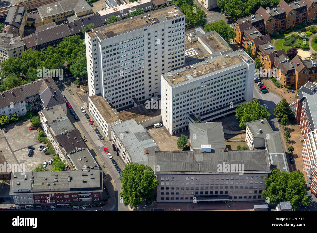 Aerial view, Justice Center at Ostring addition of Fiege Brewery, Bochum, Ruhr area, North Rhine-Westphalia, Germany, - Stock Image