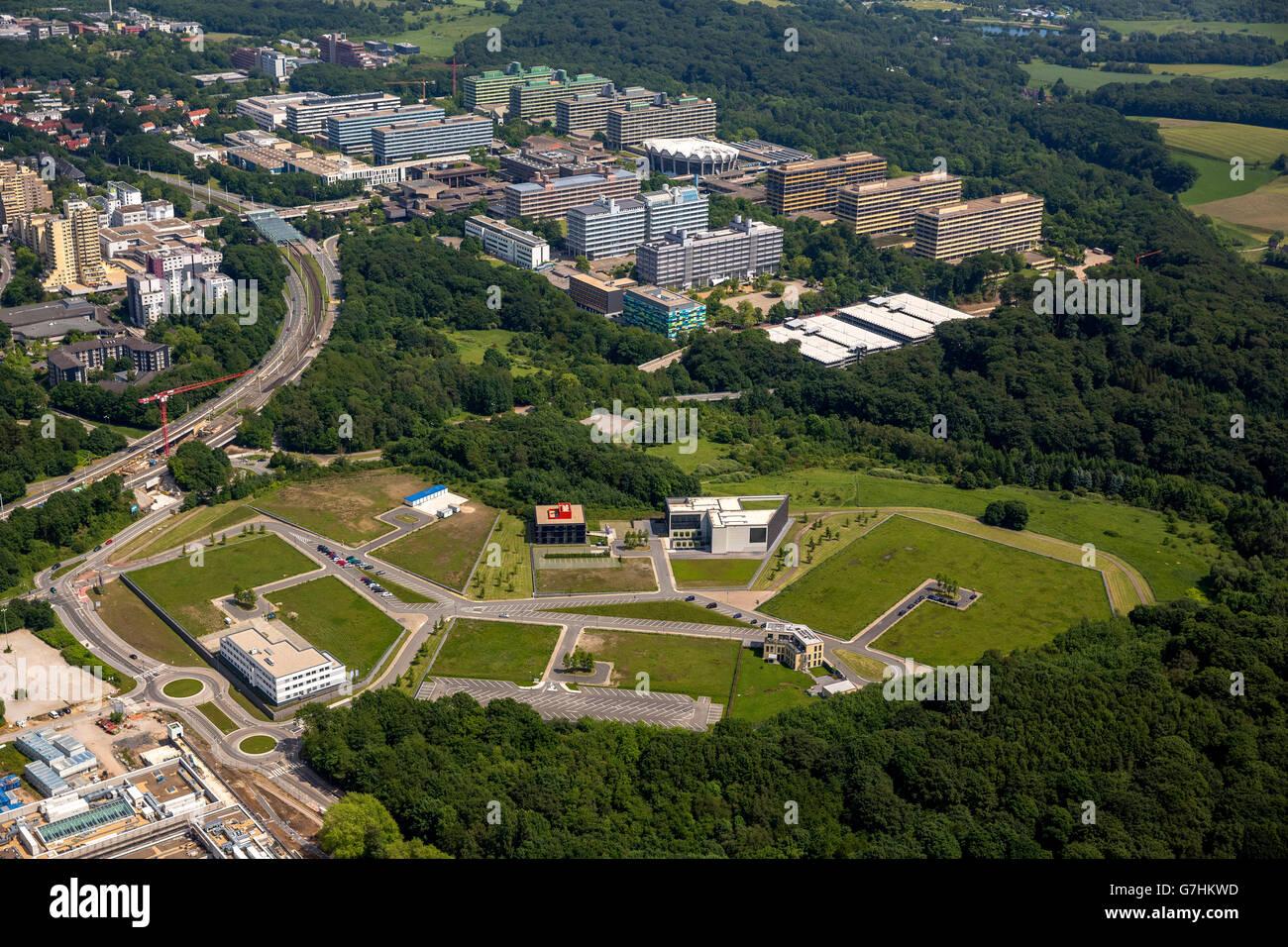 Aerial view, on Biomedical Park west of the Ruhr University Bochum, RUB, Bochum, Ruhr area, North Rhine-Westphalia, Stock Photo