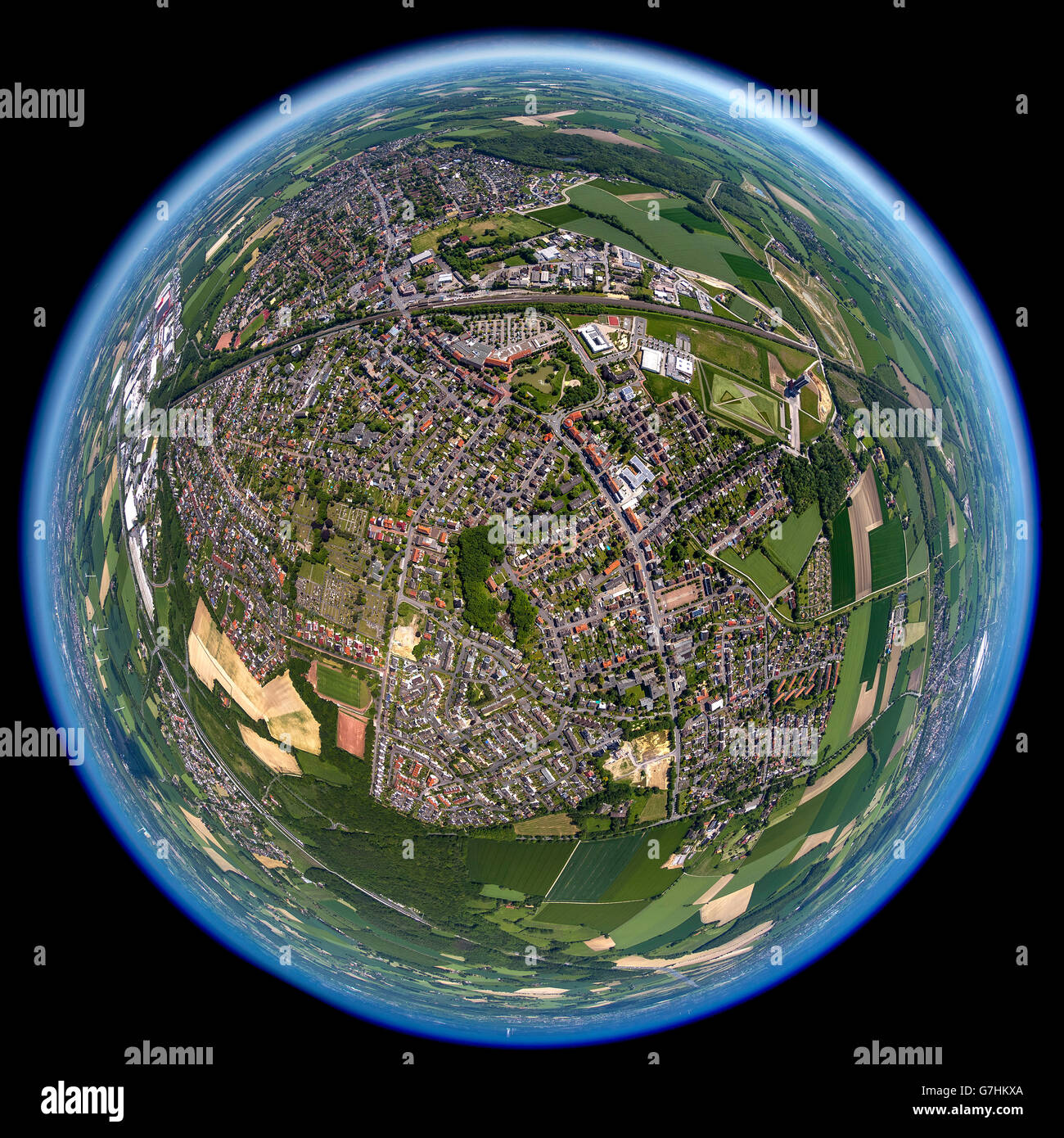 Aerial view, fisheye optics, fisheye lens, overview Bönen, Bönen, Ruhr region, North Rhine Westphalia, Germany, Stock Photo