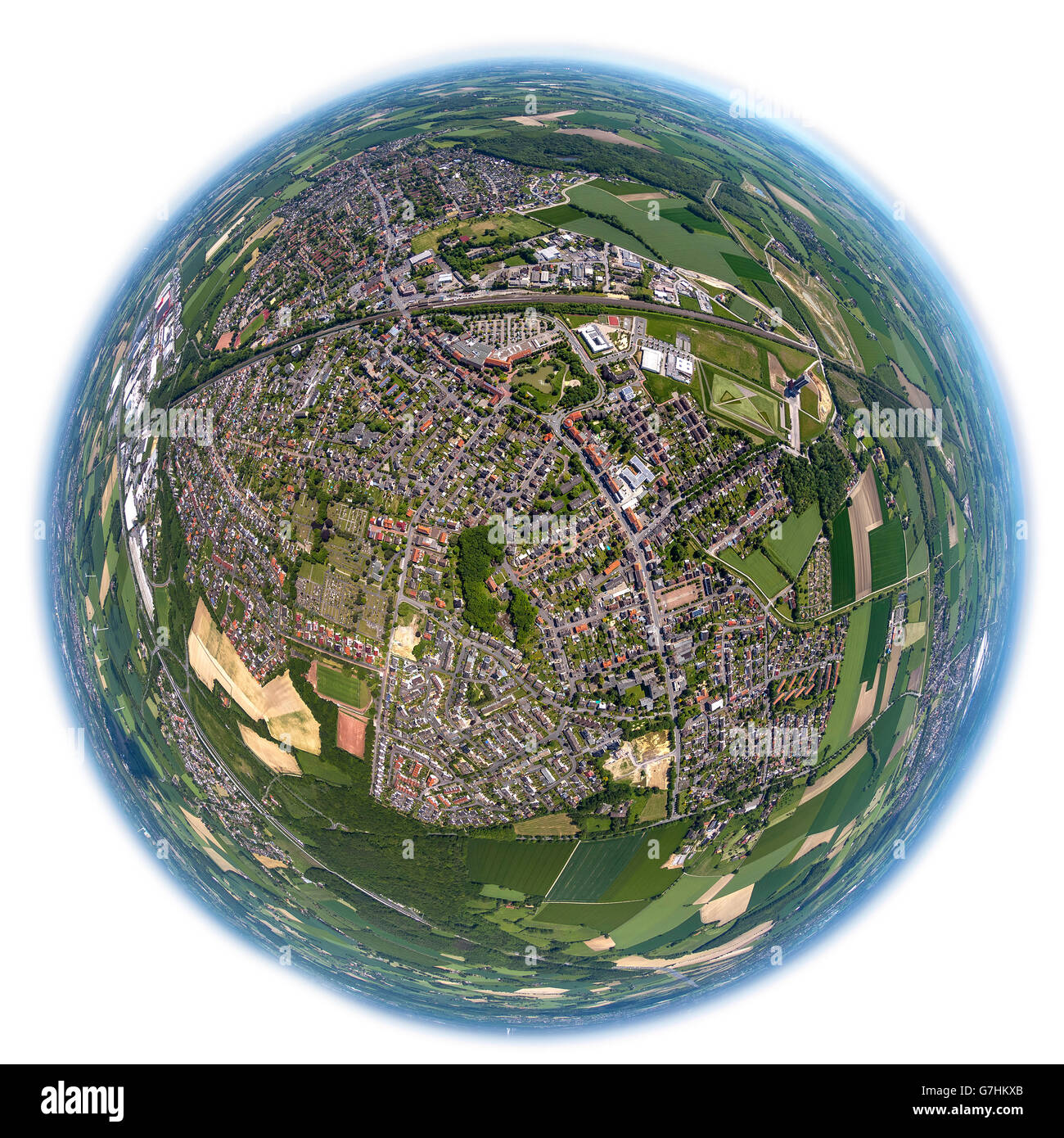 Aerial view, fisheye optics, fisheye lens, overview Bönen, Bönen, Ruhr region, North Rhine Westphalia, Germany, Stock Photo