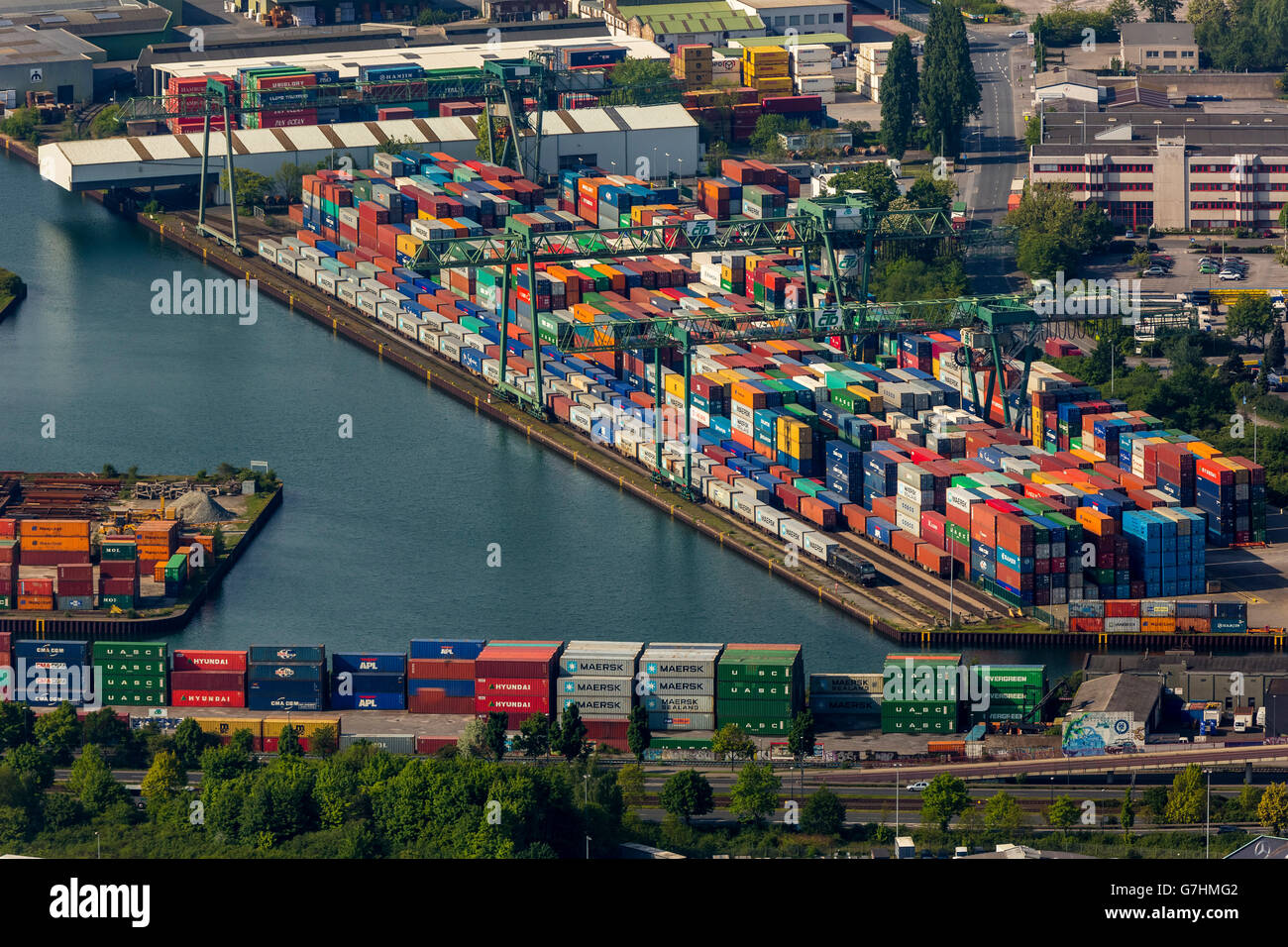 Aerial view, container port, inland waterways, Dortmund-Ems Canal, Port of Dortmund with Container Terminal, Dortmund, - Stock Image