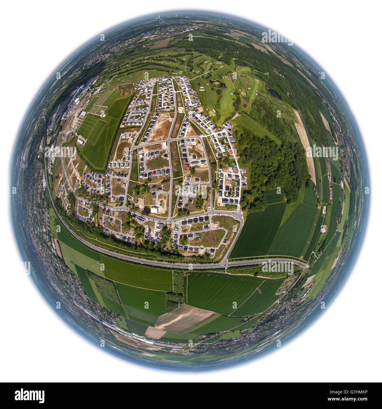 Aerial view, detached houses, semi-detached, conversion area, former barracks of the British Army of the Rhine, - Stock Image