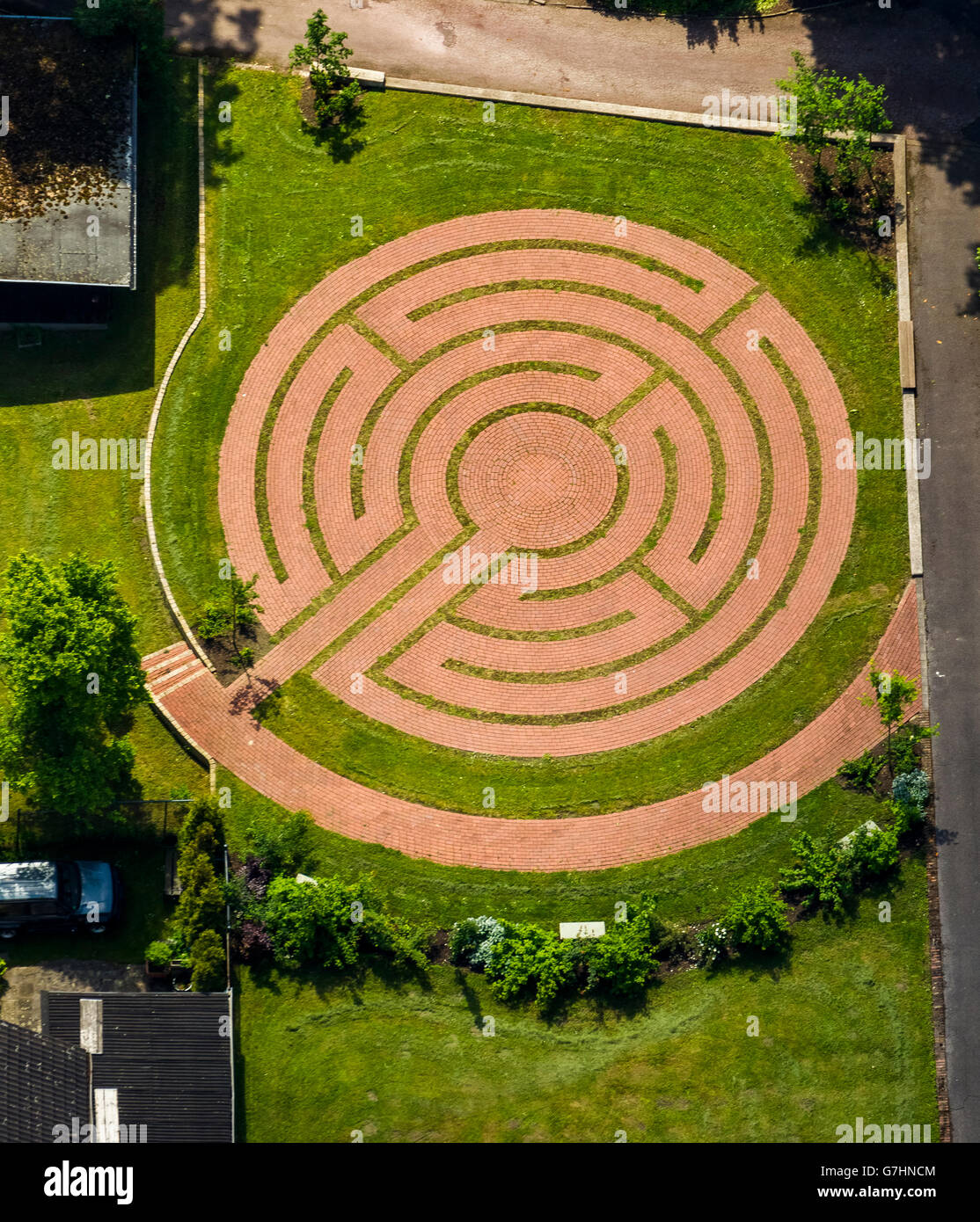 Aerial view, garden labyrinth, hedge maze, the Catholic ...