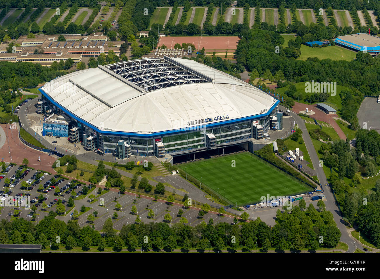 Aerial view, Veltins Arena with Scripture, Schalke Stadium, Gelsenkirchen, Gelsenkirchen-Buer, Ruhr Area, North - Stock Image