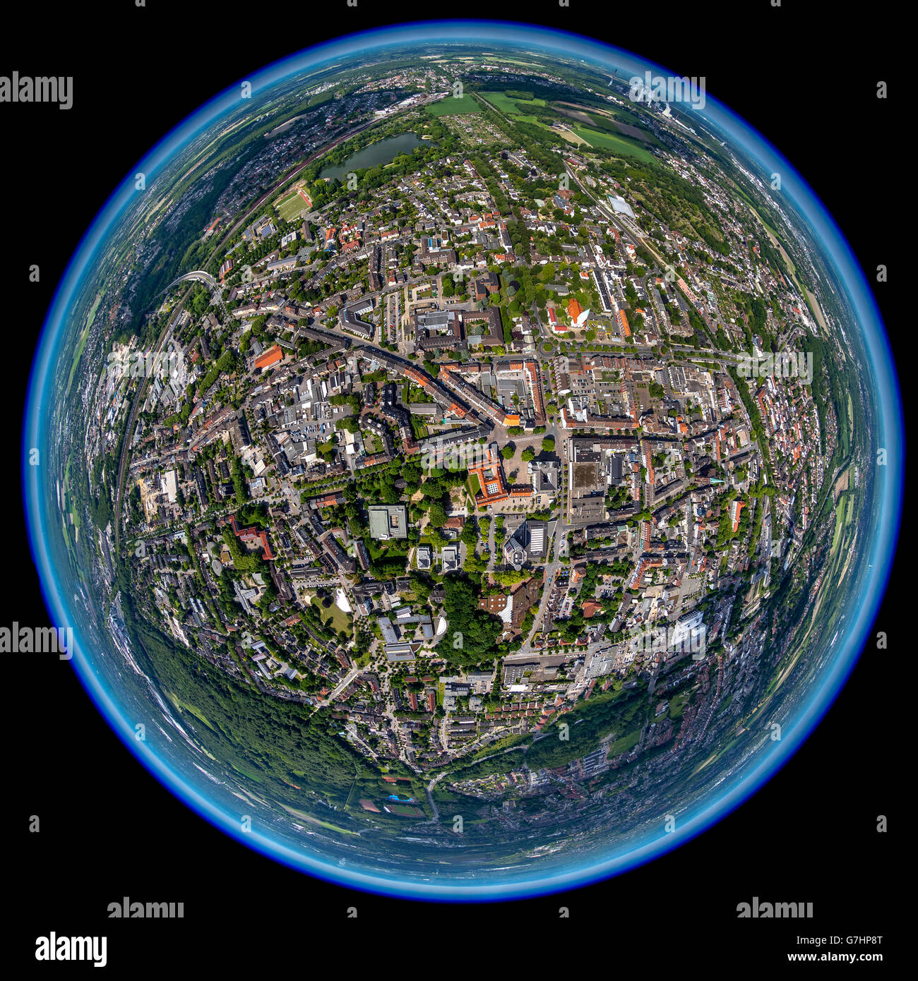 Aerial view, fisheye optics, fisheye lens, overview Gladbeck, Gladbeck, Ruhr Area, North Rhine Westphalia, Germany, - Stock Image