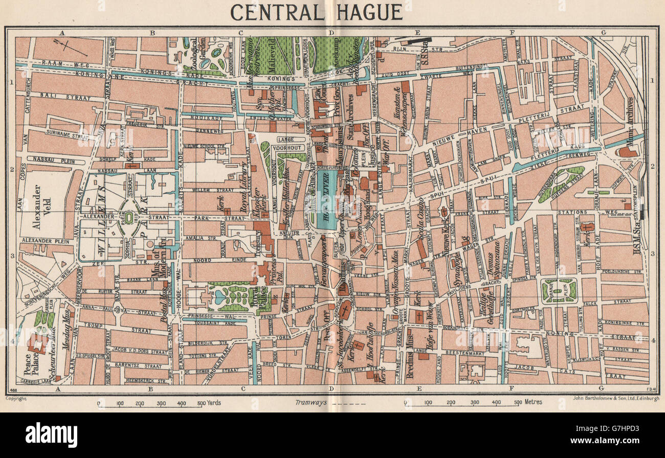 CENTRAL HAGUE. Vintage town city map plan. Netherlands, 1933 Stock ...