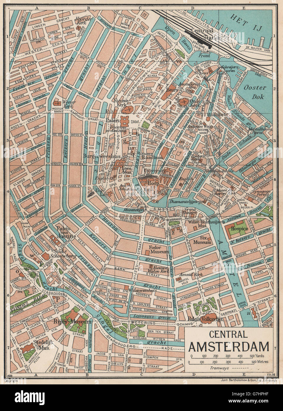 Central Amsterdam Vintage Town City Map Plan Netherlands 1933