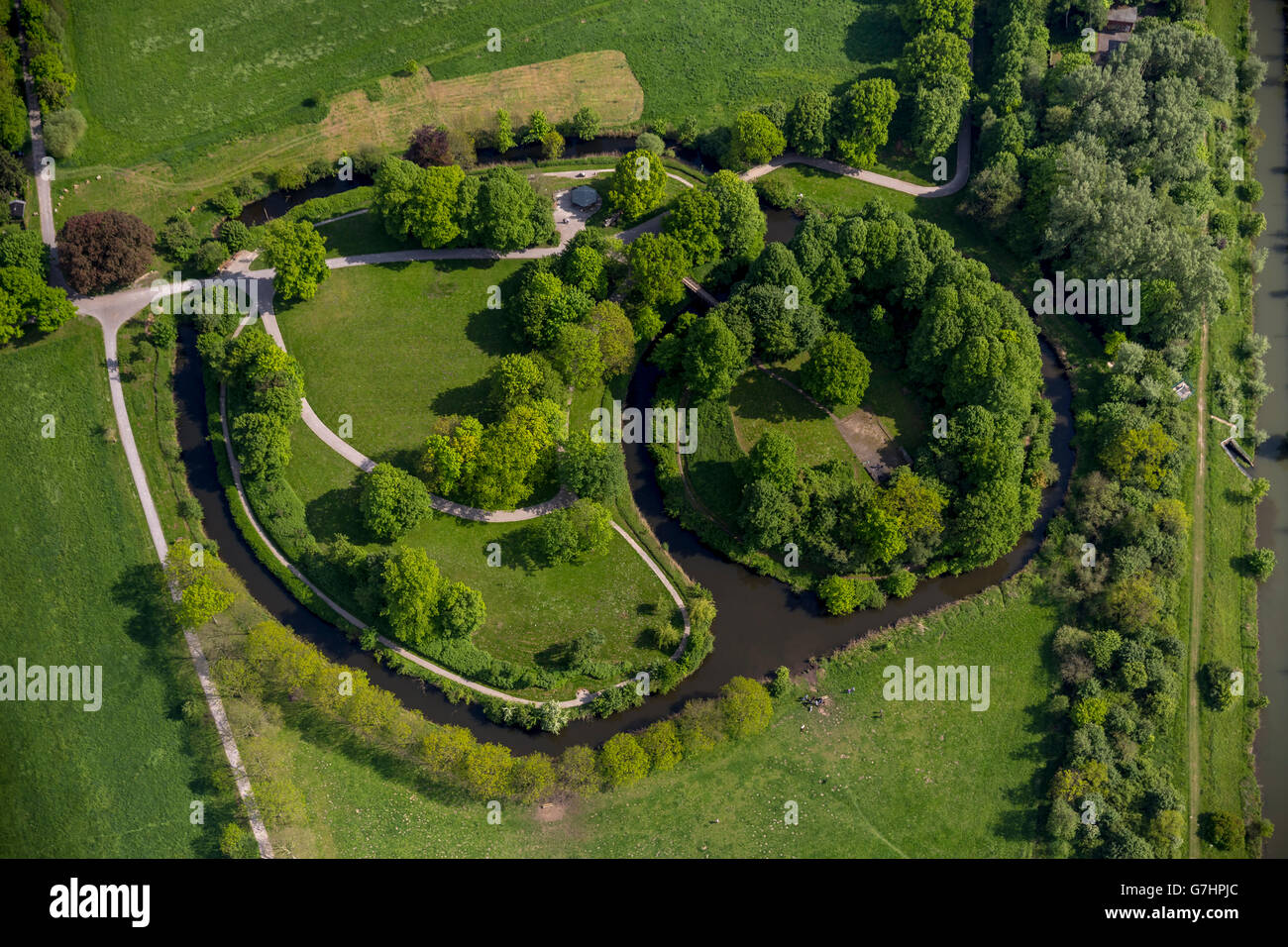Aerial view, Castle Hill marrow, core cell of Hamm Castle of the Mark, Hamm, Ruhr Area, North Rhine Westphalia, - Stock Image