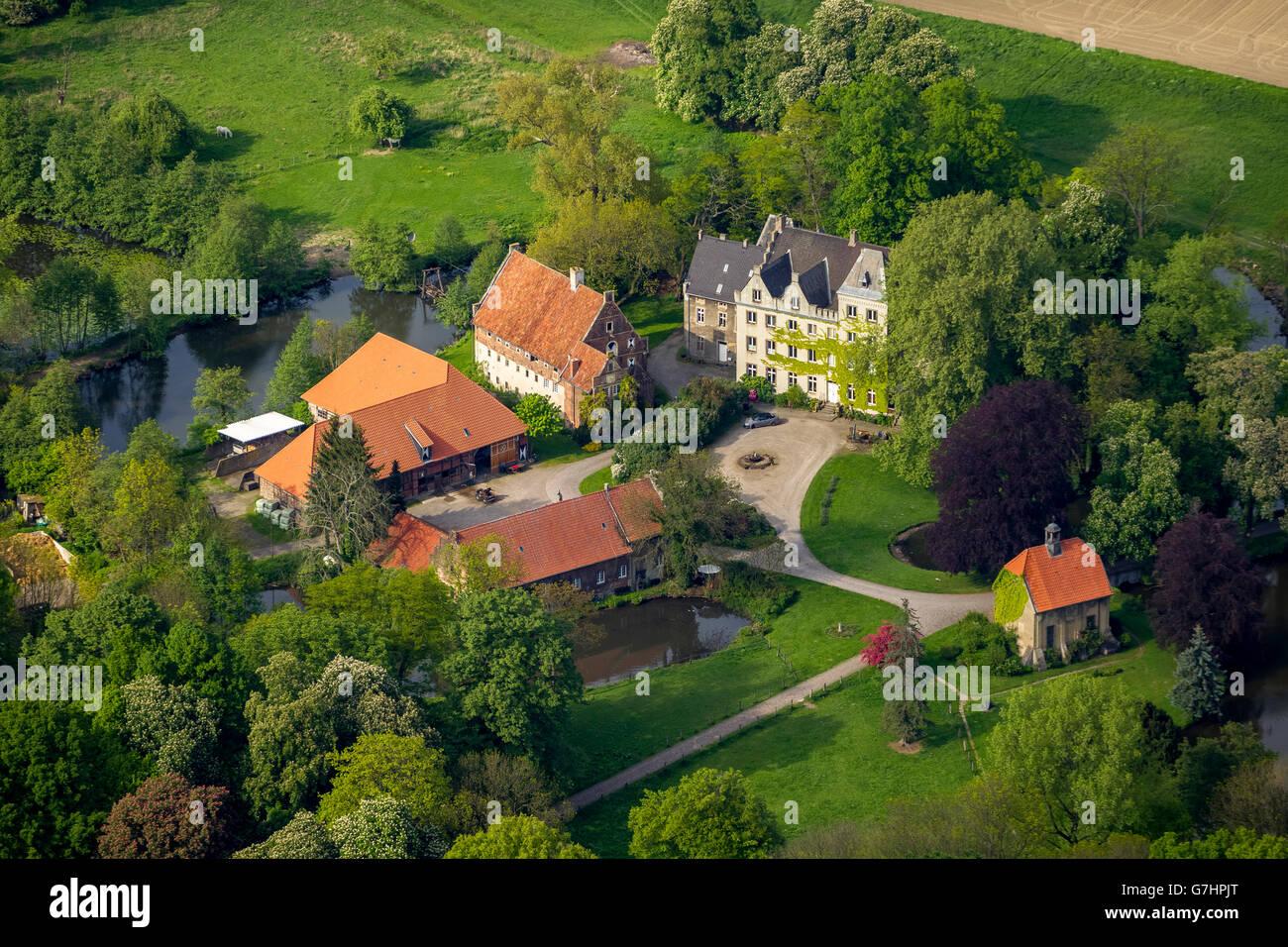 Aerial view, Schloss Ermelinghof, Hamm, Ruhr Area, North Rhine Westphalia, Germany, Europe, Aerial view, birds-eyes - Stock Image